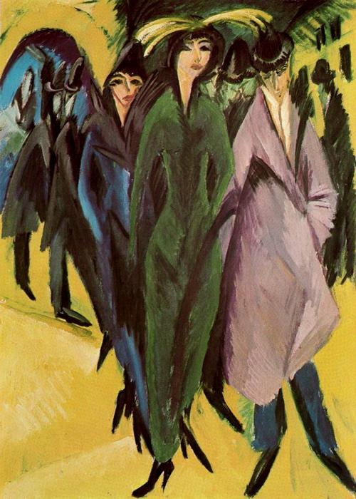 donne in il strada di Ernst Ludwig Kirchner (1880-1938, Germany)