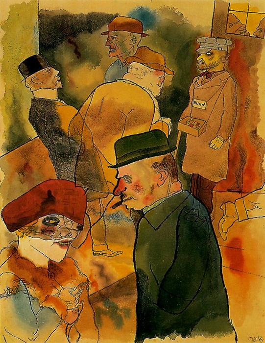 Crepuscolo, penna di George Grosz (1893-1959, Germany)