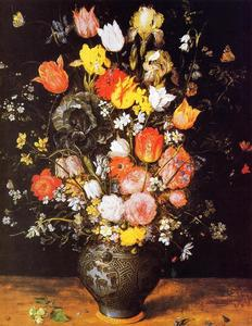 Jan Brueghel The Elder - bouquet di fiori in a blu vaso
