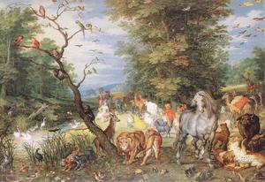 Jan Brueghel The Elder - Gli animali che entrano l Arca