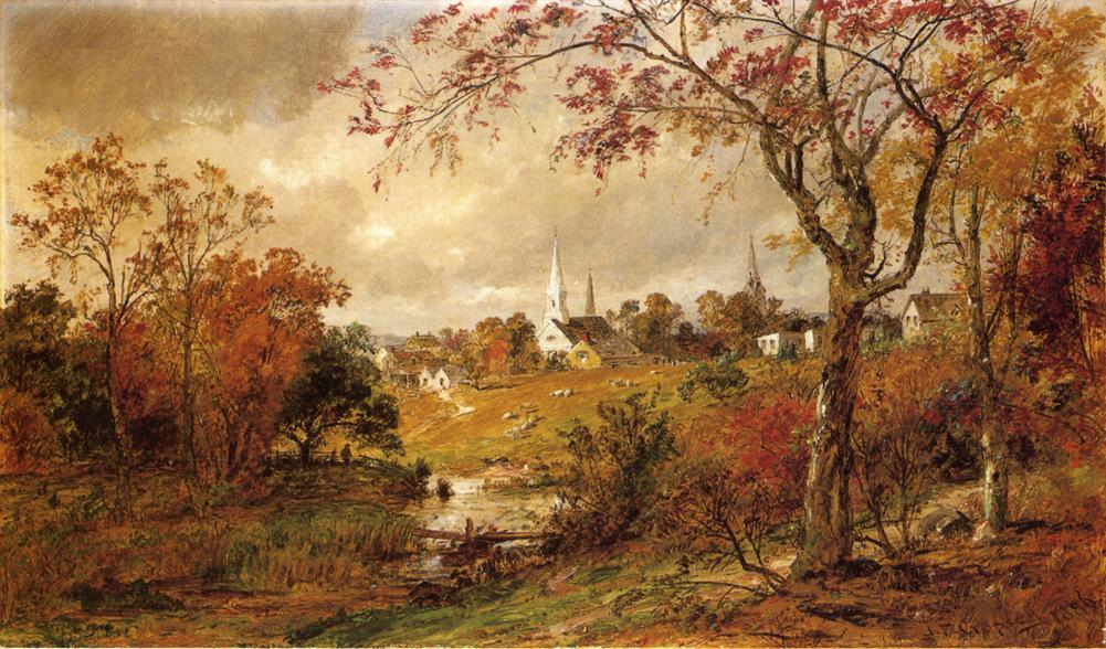 paesaggio autunnale - Saugerties , a new york di Jasper Francis Cropsey (1823-1900, United States) | WahooArt.com
