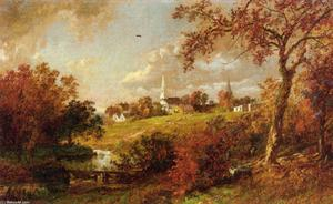Jasper Francis Cropsey - indietro del villaggio , Hastings-on-Hudson , a new york