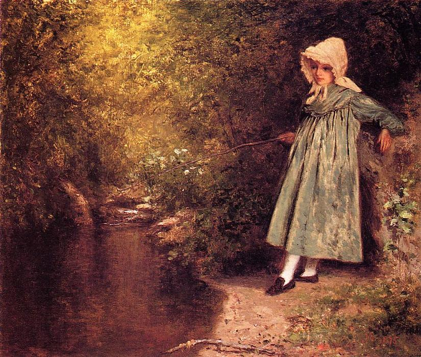 My Little Fisher Girl, olio su pannello di Jervis Mcentee (1828-1891, United States)