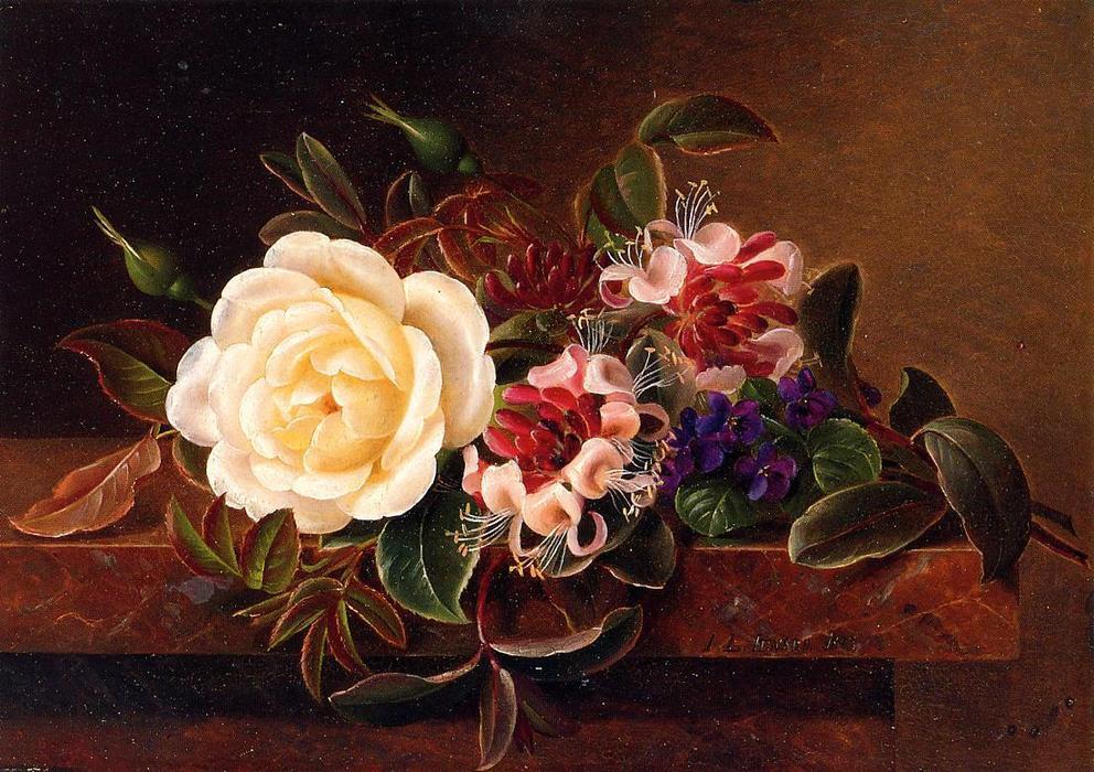 Natura morta con rose e viole su una sporgenza di marmo di for Riproduzione rose