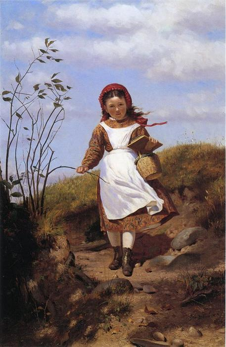 A Breezy Mattina di John George Brown (1831-1913, United Kingdom) | WahooArt.com