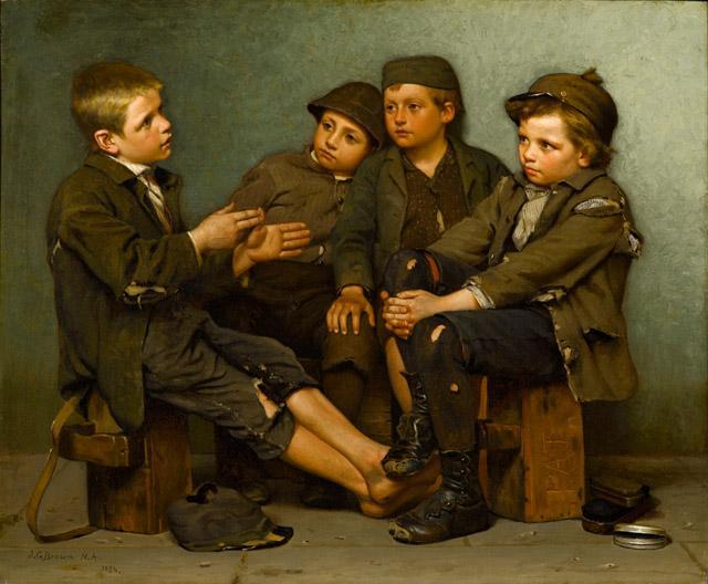 Una storia dura, olio su tela di John George Brown (1831-1913, United Kingdom)