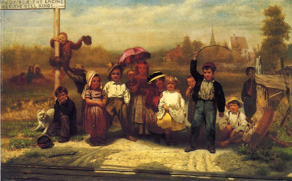 Cercate il motore mentre the Bell Rings, olio su tela di John George Brown (1831-1913, United Kingdom)
