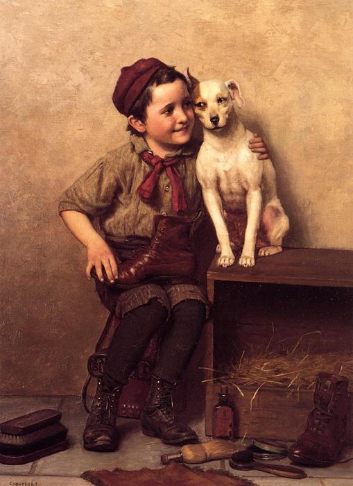 Il mio Pardner, olio su tela di John George Brown (1831-1913, United Kingdom)