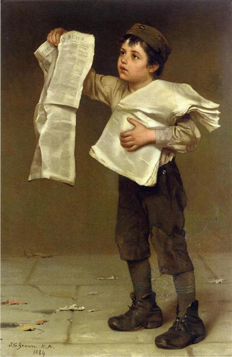 Newsboy di John George Brown (1831-1913, United Kingdom) | WahooArt.com