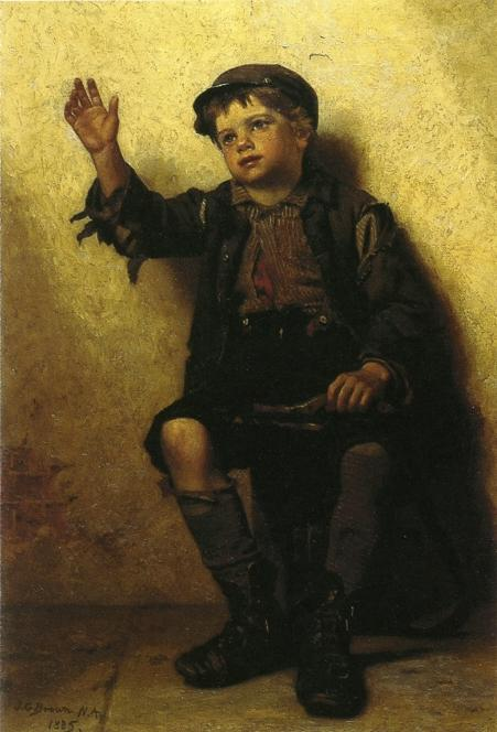 Shoeshine Boy, 1885 di John George Brown (1831-1913, United Kingdom) | WahooArt.com