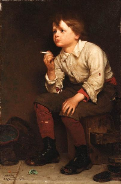 Shoeshine Boy Fumare di John George Brown (1831-1913, United Kingdom)