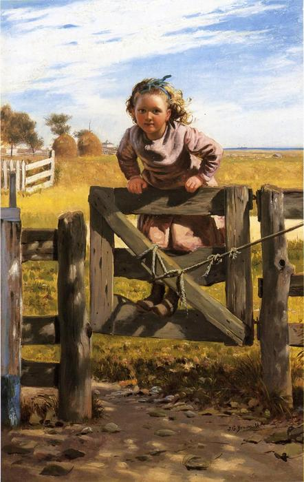 Swinging su un cancello, Southampson, New York, olio su tela di John George Brown (1831-1913, United Kingdom)