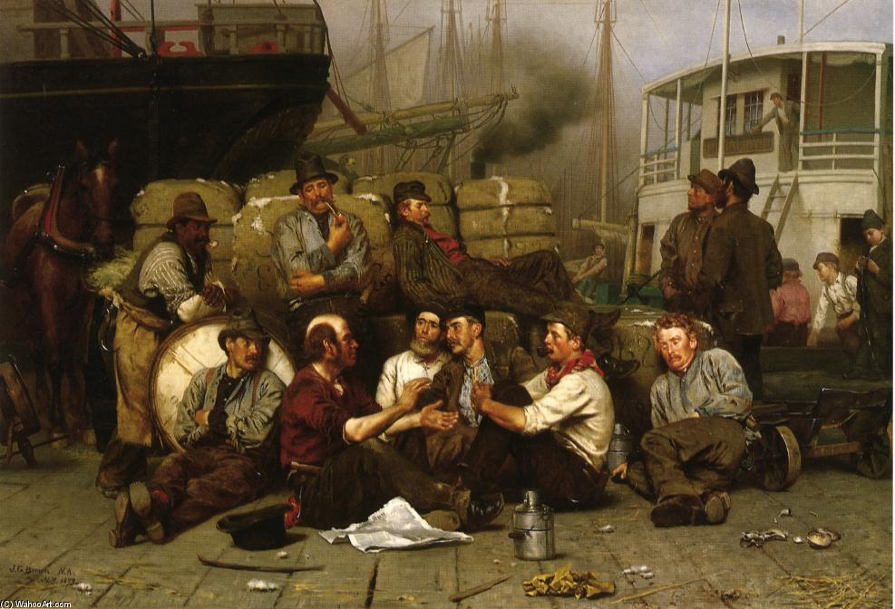 Noon del Longshoremen, olio su tela di John George Brown (1831-1913, United Kingdom)