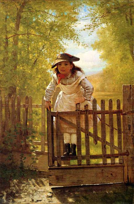 Il Tomboy, olio su tela di John George Brown (1831-1913, United Kingdom)