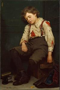 John George Brown - Tuckered Out Il Shoeshine Boy