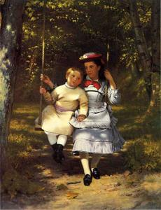 John George Brown - due ragazze su un altalena