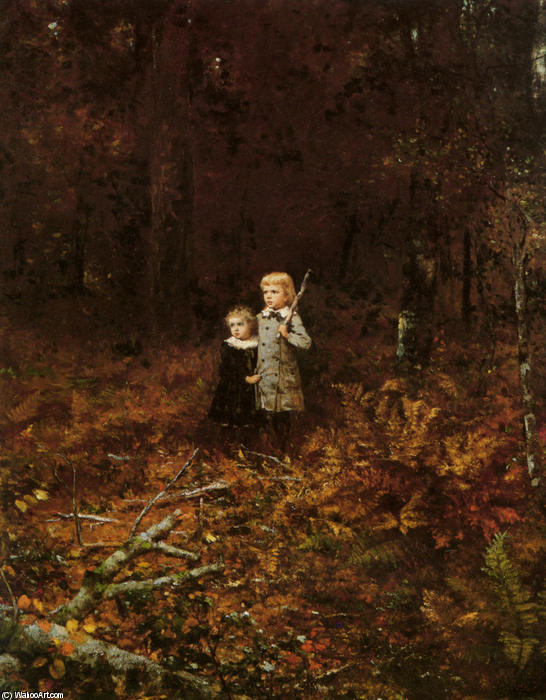 babies` nel boschi di Jonathan Eastman Johnson (1824-1906, United Kingdom)