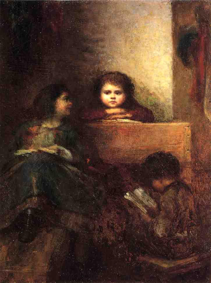 bambini leggere di Jonathan Eastman Johnson (1824-1906, United Kingdom)