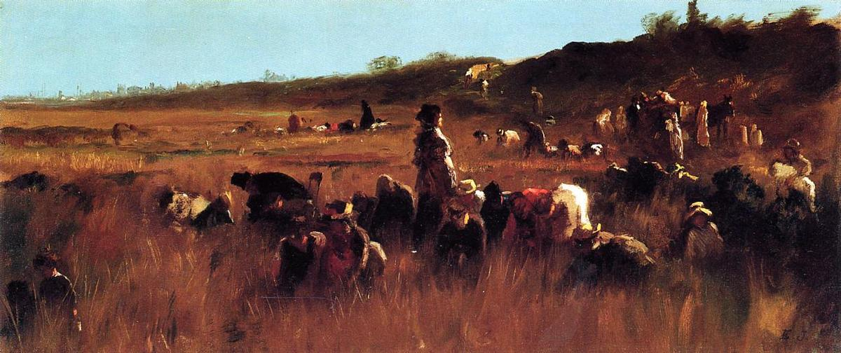 Cranberry Pickers, Nantucket di Jonathan Eastman Johnson (1824-1906, United Kingdom)