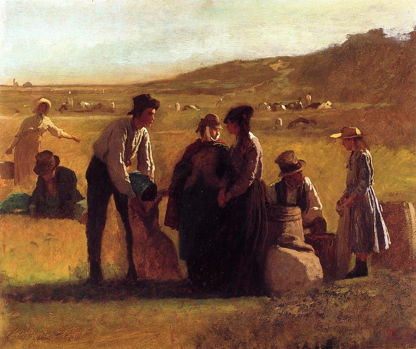 Cranberry Pickers di Jonathan Eastman Johnson (1824-1906, United Kingdom) | Copia Pittura | WahooArt.com