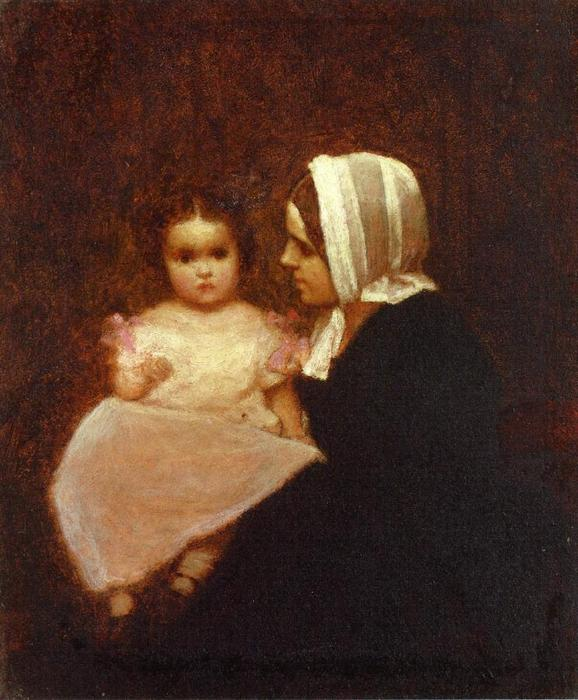 madre e figlio 1   di Jonathan Eastman Johnson (1824-1906, United Kingdom)
