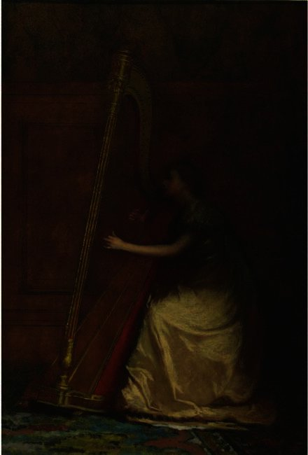 Woman Playing Harp di Jonathan Eastman Johnson (1824-1906, United Kingdom)