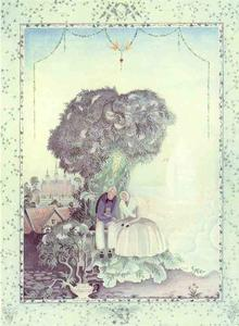 Kay Rasmus Nielsen - elder madre tree . Un vecchio , plesant-looking donna in un vestito strano