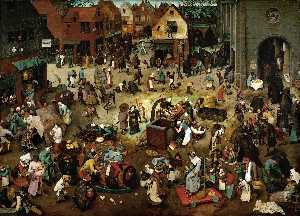 Pieter Bruegel The Younger - La battaglia tra la Quaresima e Carnevale