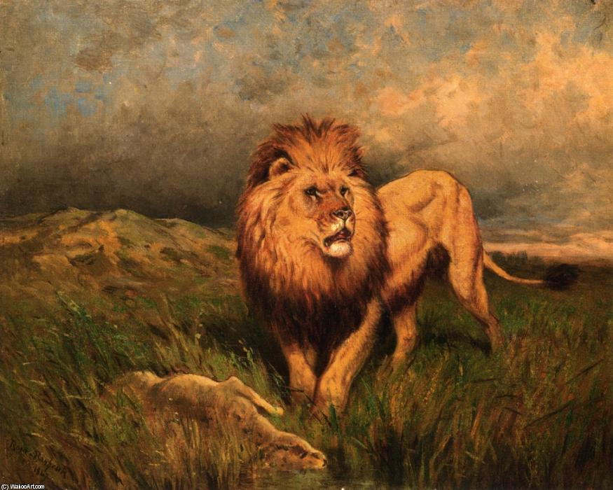 Lion and Prey (aka The Kill) di Rosa Bonheur (1822-1899, France) | Riproduzioni Di Quadri Famosi | WahooArt.com