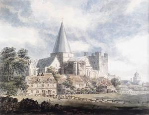 Thomas Girtin - rochester cathedral e castello , dal North­East