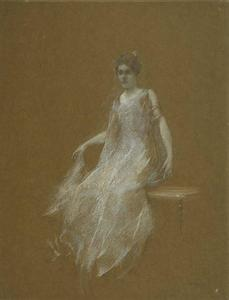 Thomas Wilmer Dewing - signora in bianco 1