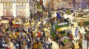 William James Glackens - Shoppers Natale, Madison Square (noto anche come Shoppers Fifth Avenue)