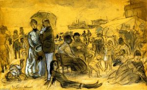 Ordinare Riproduzioni Di Quadri Famosi : Coney Island, 1910 di William James Glackens (1870-1938, United States) | WahooArt.com