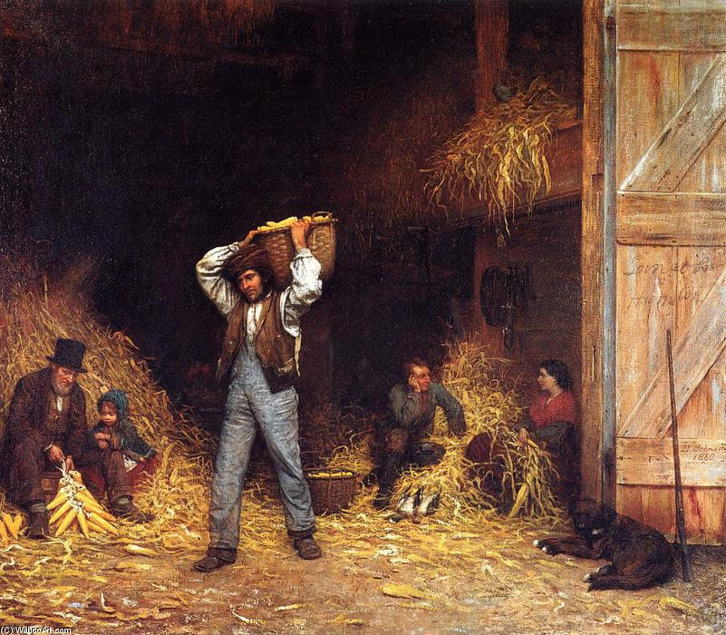 Corn Husking, olio su tela di Jonathan Eastman Johnson (1824-1906, United Kingdom)
