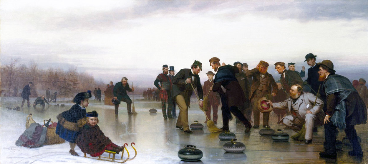 Curling , - un gioco scozzese , a central park, olio su tela di John George Brown (1831-1913, United Kingdom)