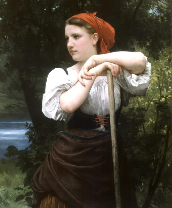Faneuse, olio su tela di William Adolphe Bouguereau (1825-1905, France)
