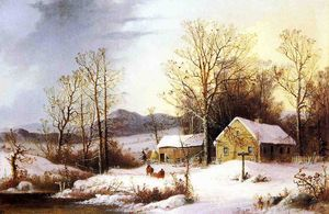 George Henry Durrie - Cascina in inverno