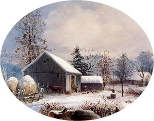 George Henry Durrie - Farmyard in inverno