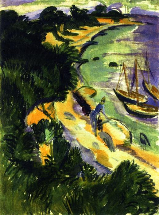Fehmarn Bay con barche, 1913 di Ernst Ludwig Kirchner (1880-1938, Germany) | Copia Pittura | WahooArt.com