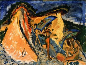 Ernst Ludwig Kirchner - Fehmarn Dunes con bagnanti sotto gli ombrelli giapponesi
