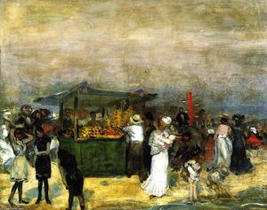 William James Glackens - stand di frutta , Coney Isola