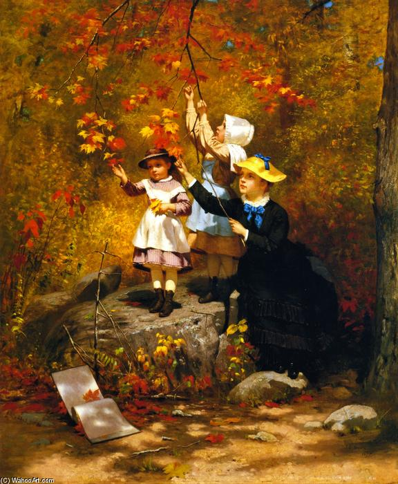 Gathering Autumn Leaves, 1875 di John George Brown (1831-1913, United Kingdom) | WahooArt.com