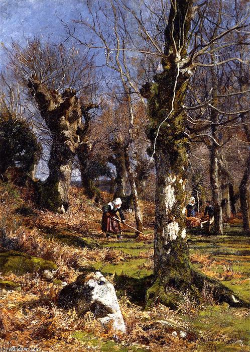 Gathering Foglie, olio su tela di Hugh Bolton Jones (1848-1927)