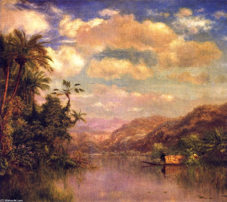 Gathering Plantains, Guayaquil in Ecuador, olio su tela di Louis Remy Mignot (1831-1870, United States)