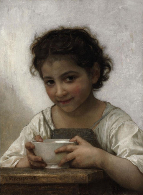Ragazza mangiare porridge, olio su tela di William Adolphe Bouguereau (1825-1905, France)