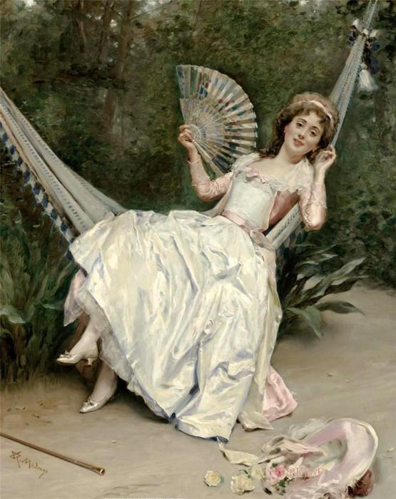 Girl in the Hammock di Raimundo De Madrazo Y Garreta (1841-1920, Italy)