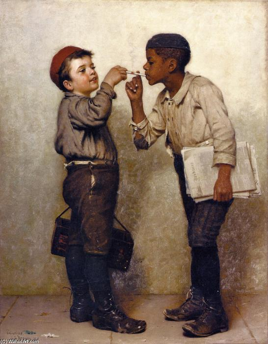 dare noi a luce, olio su tela di John George Brown (1831-1913, United Kingdom)