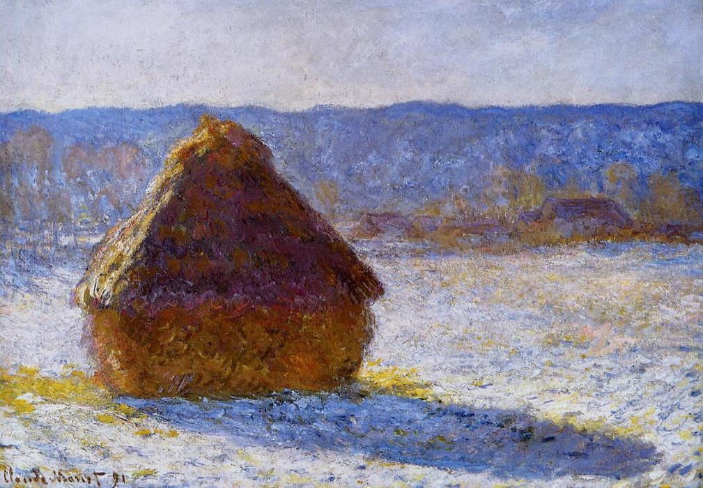 Grainstack nel mattino , effect snow, olio su tela di Claude Monet (1840-1926, France)