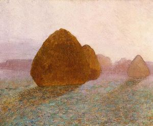 John Leslie Breck - haystack a giverny , Normandia : sun dissolvere morning mist