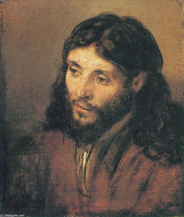 testa di cristo, olio su tavola di Rembrandt Van Rijn (1606-1669, Dutch Republic (Now The Netherlands))